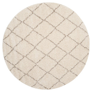 """Hand Crafted 6'7"""" x 6'7"""" Square Rug, Ivory/Beige, large"""