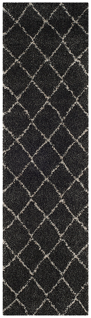 """Hand Crafted 2'3"""" x 12' Runner Rug, Anthracite/Beige, large"""