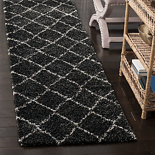 """Hand Crafted 2'3"""" x 12' Runner Rug, Anthracite/Beige, rollover"""