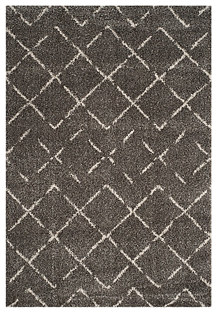 "Hand Crafted 6'7"" x 9'2"" Area Rug, Brown/Ivory, large"