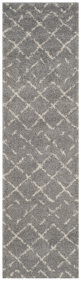 """Hand Crafted 2'3"""" x 8' Runner Rug, Gray/Ivory, large"""