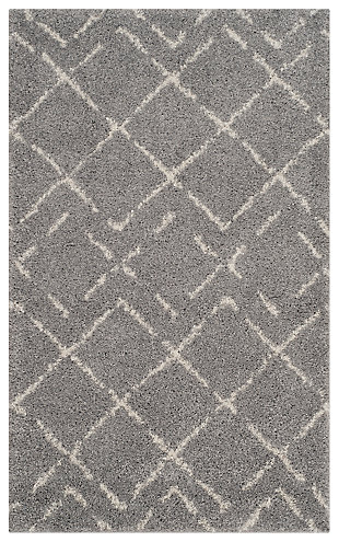 Hand Crafted 3' x 5' Doormat, Gray/Ivory, large