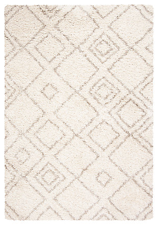 Hand Crafted 3' x 5' Doormat, Ivory/Beige, large