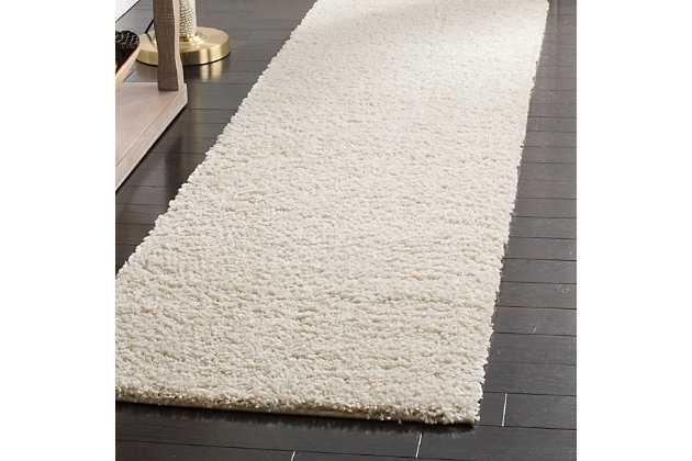 "Hand Crafted 2'3"" x 12' Runner Rug, Cream, large"