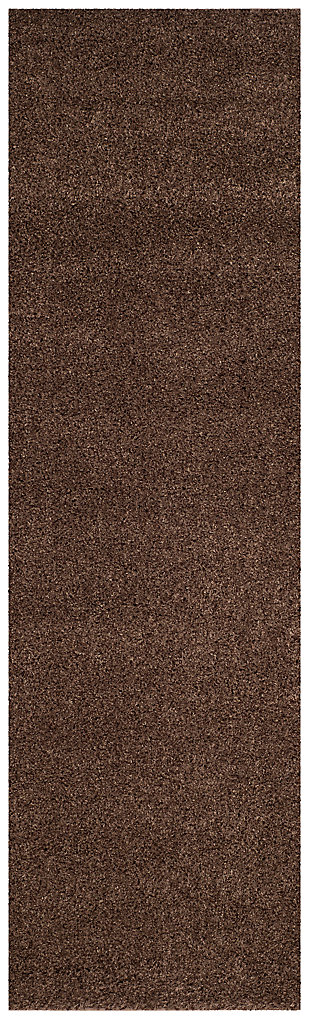 "Hand Crafted 2'3"" x 8' Runner Rug, Brown, large"