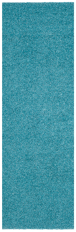 """Hand Crafted 2'3"""" x 8' Runner Rug, Aqua, large"""