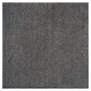 "Hand Crafted 6'7"" x 6'7"" Square Rug, Dark Gray, large"