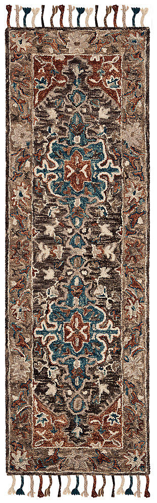 "Accessory 2'3"" x 7' Runner Rug, Charcoal/Brown, large"