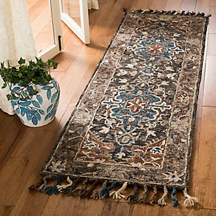 "Accessory 2'3"" x 7' Runner Rug, Charcoal/Brown, rollover"