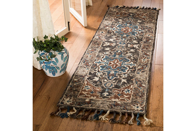 """Accessory 2'3"""" x 7' Runner Rug, Charcoal/Brown, large"""