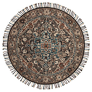 Accessory 7' x 7' Round Rug, Charcoal/Brown, large