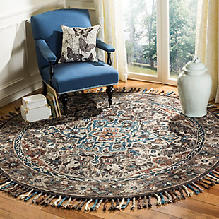 Accessory 7' x 7' Round Rug, Charcoal/Brown, rollover