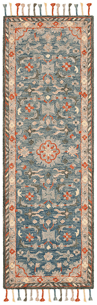 "Accessory 2'3"" x 7' Runner Rug, Blue/Rust, large"