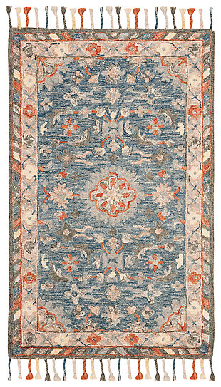 Accessory 3' x 5' Area Rug, Blue/Rust, large
