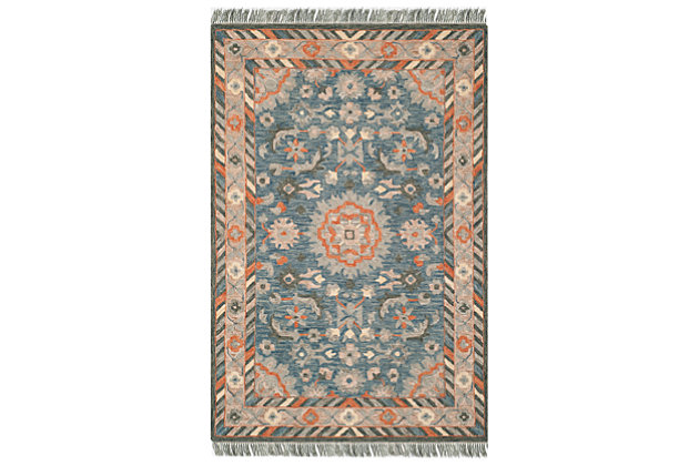 Accessory 5' x 8' Area Rug, Blue/Rust, large
