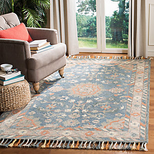 Accessory 5' x 8' Area Rug, Blue/Rust, rollover