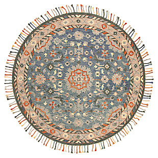 Accessory 7' x 7' Round Rug, Blue/Rust, large