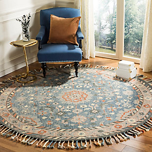 Accessory 7' x 7' Round Rug, Blue/Rust, rollover