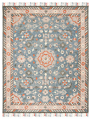 Accessory 7' x 7' Square Rug, Blue/Rust, large