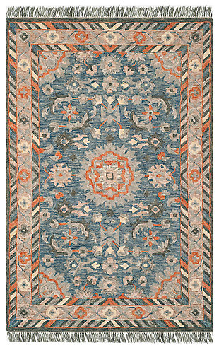 Accessory 8' x 10' Area Rug, Blue/Rust, rollover