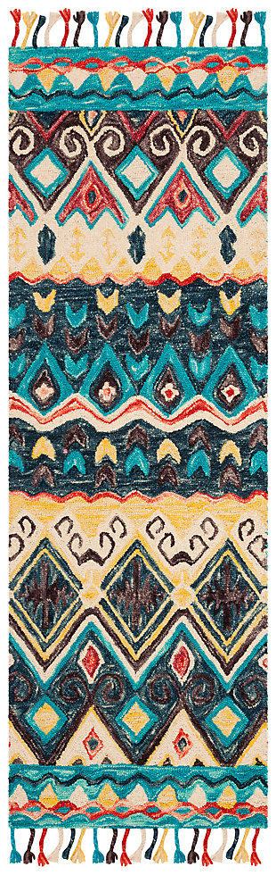 "Accessory 2'3"" x 7' Runner Rug, Blue/Red, large"