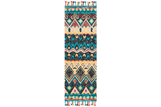 """Accessory 2'3"""" x 7' Runner Rug, Blue/Red, large"""