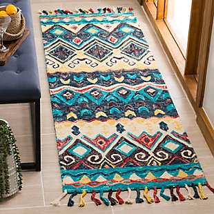 "Accessory 2'3"" x 7' Runner Rug, Blue/Red, rollover"