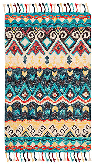 Accessory 3' x 5' Area Rug, Blue/Red, large