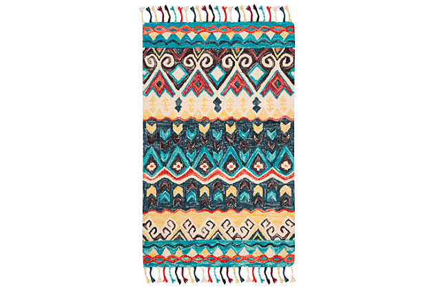 Accessory 3' x 5' Doormat, Blue/Red, large