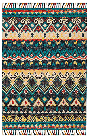 Accessory 5' x 8' Area Rug, Blue/Red, large