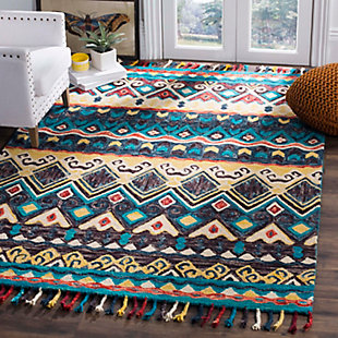Accessory 5' x 8' Area Rug, Blue/Red, rollover