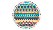 Accessory 7' x 7' Round Rug, Blue/Red, large