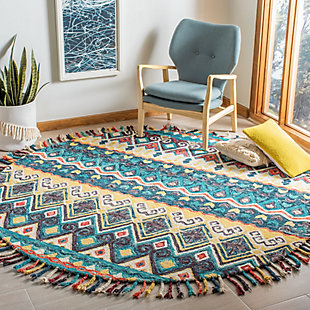 Accessory 7' x 7' Round Rug, Blue/Red, rollover