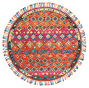 Accessory 7' x 7' Round Rug, Orange/Fuchsia, large