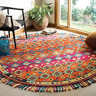 Accessory 7' x 7' Round Rug, Orange/Fuchsia, rollover