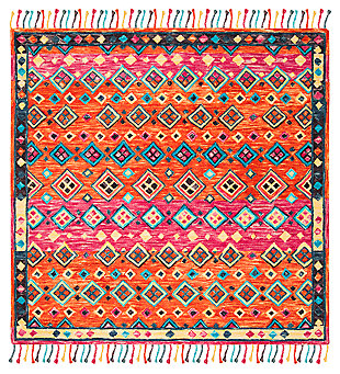 Accessory 7' x 7' Square Rug, Orange/Fuchsia, large