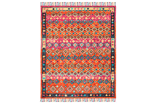 Accessory 8' x 10' Area Rug, Orange/Fuchsia, large