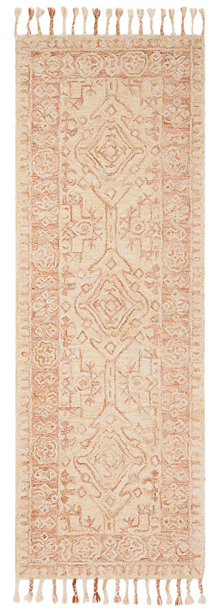 "Accessory 2'3"" x 7' Runner Rug, Ivory/Blush, large"