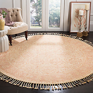 Accessory 7' x 7' Round Rug, Ivory/Blush, rollover