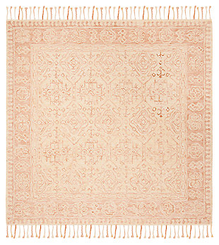 Accessory 7' x 7' Square Rug, Ivory/Blush, large