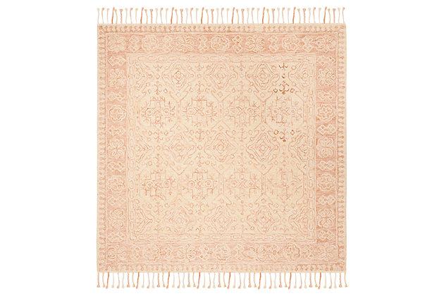 Accessory 7' x 7' Square Rug, Ivory/Blush, large