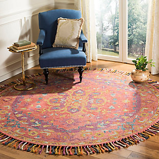 Accessory 7' x 7' Round Rug, Pink/Violet, rollover