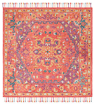 Accessory 7' x 7' Square Rug, Pink/Violet, large