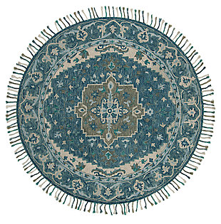 Accessory 7' x 7' Round Rug, Dark Blue/Gray, large