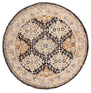 Accessory 7' x 7' Round Rug, Beige/Brown, large