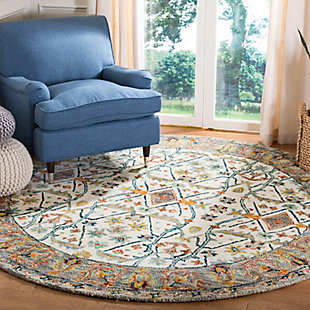 Accessory 7' x 7' Round Rug, Beige/Brown, rollover
