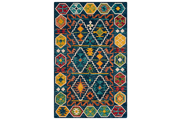 Accessory 5' x 8' Area Rug, Navy/Gold, large