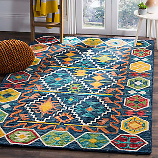 Accessory 5' x 8' Area Rug, Navy/Gold, rollover