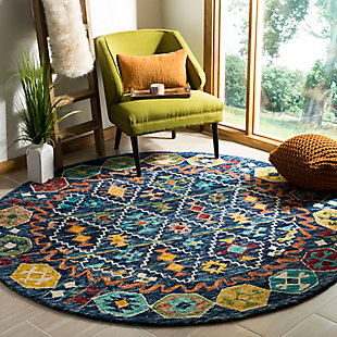 Accessory 7' x 7' Round Rug, Navy/Gold, rollover