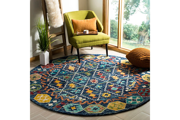 Accessory 7' x 7' Round Rug, Navy/Gold, large